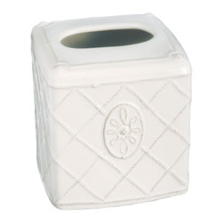 Jardins Du Monde Tissue Box Cover - Whitewash - A classic essential in a gracious period design, the Jardins du Monde line of designer ceramics' lattice-patterned Tissue Box Cover makes a home necessity appear both feminine and statuesque on the counter or table. Perfectly coordinate your bedroom, bath, or living space with the tissue cover's Whitewash glaze and the elegant tradition inherent in its old-world French design.