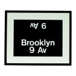 Ward Maps - Authentic Brooklyn/9th Ave Station NYC Subway Sign - Brooklyn transplants (and New York lovers) can have a slice of the Big Apple right at home, wherever home is. This subway sign is the real deal: It's straight from a decommissioned R32 Brightliner subway train. Put it up anywhere and show your New York pride.
