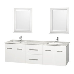 "Wyndham Collection - Centra 72"" White Double Vanity, White Carrera Marble Top, Undermount Square Sink - Simplicity and elegance combine in the perfect lines of the Centra vanity by the Wyndham Collection. If cutting-edge contemporary design is your style then the Centra vanity is for you - modern, chic and built to last a lifetime. Available with green glass, pure white man-made stone, ivory marble or white carrera marble counters, with stunning vessel or undermount sink(s) and matching mirror(s). Featuring soft close door hinges, drawer glides, and meticulously finished with brushed chrome hardware. The attention to detail on this beautiful vanity is second to none."