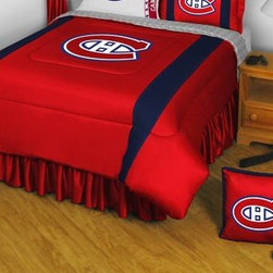 Sports Coverage - NHL Montreal Canadiens Bedding - Sidelines Comforter and Sheet Set Combo - Queen - This is a great NHL Montreal Canadiens Bedding Comforter and Sheet set combination! Buy this Microfiber Sheet set with the Comforter and save off our already discounted prices. Show your team spirit with this great looking officially licensed Comforter which comes in new design with sidelines. This comforter is made from 100% Polyester Jersey Mesh - just like what the players wear. The fill is 100% Polyester batting for warmth and comfort. Authentic team colors and logo screen printed in the center. Microfiber Sheet Set have an ultra-fine peach weave that is softer and more comfortable than cotton! This Micro Fiber Sheet Set includes one flat sheet, one fitted sheet and a pillow case. Its brushed silk-like embrace provides good insulation and warmth, yet is breathable. It is wrinkle-resistant, stain-resistant, washes beautifully, and dries quickly. The pillowcase only has a white-on-white print and the officially licensed team name and logo printed in team colors. Made from 92 gsm microfiber for extra stability and soothing texture. Sheet Sets are plain white in color with no team logo.   Includes:  -  Flat Sheet - Twin 66 x 96, Full 81 x 96, Queen 90 x 102.,    - Fitted Sheet - Twin 39 x 75, Full 54 x 75, Queen 60 X 80,    -  Pillow case Standard - 21 x 30,    - Comforter - Twin 66 x 86, Full/Queen 86 x 86,