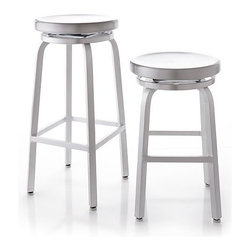 Spin Bar Stools | Crate & Barrel - Take this aluminum bar stool for a spin! It's an updated version of mid-century modern industrial stools that will fit right into any traditional, vintage modern or contemporary kitchen.