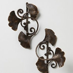 "Anthropologie - Ginkgo Leaf Tieback - Sold individually Hardware requiredBrass8.5""H, 6""W, 5""D5"" projection Imported"