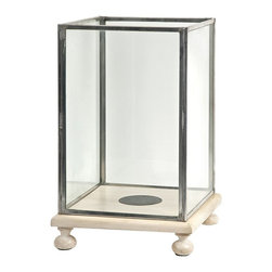 iMax - iMax Paola Wood and Glass Candle Hurricane - With a footed cream finished wood base, the Paola hurricane features rectangle glass inserts and looks great with a variety of interiors. Holds pillar candles.