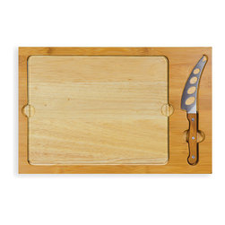Picnic Time - Icon Cutting Board/Tray & Knife Set - Prepare appetizers or a full meal on this solid cutting board that comes with a cheese knife for helping to serve and a classic American icon printed on it.   Includes cutting board, cheese knife and base Base: 15.2'' W x 10'' H Rubberwood / bamboo / stainless steel Hand wash Imported