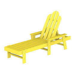 "Polywood POLYWOOD® Long Island Chaise in Lemon - Kick back and relax Bring the easy comfort of a day at the beach to your outdoor living area with the stylish and eco-friendly Long Island Chaise inspired by the classic Northeast Adirondack with a twist of modern design. You don't need a house in the Hamptons to create your own breezy get away with these classically styled pieces constructed from HDPE material – an incredibly durable material made from post-consumer bottle waste, such as milk and detergent bottles. Solidly constructed with stainless steel hardware, these pieces will stand the test of time and can withstand the elements with very little maintenance.  The Long Island Chaise will not absorb moisture and requires no waterproofing, painting or staining to maintain their bright color for years. The colors are blended into the material all the way through, and are UV-resistant. Minimal assembly is required.  The collection includes the Long Island Adirondack Chair and the South Beach Ottoman.  Available colors: Sunset Red, Tangerine, Lemon, Lime, Aruba, Pacific Blue, Teak, White, and Black.  Dimensions Long Island Chaise – 37.25""H x 26.5""W x 75.5""D, Seat height – 12"", Seat size – 20"" x 43.25""   Care: Wash with mild soap and water. They can be power washed at pressures below 1,500 PSI.Please allow 2-3 weeks to ship"