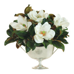 Winward Designs - Magnolia In Silver Centerpc Flower Arrangement - Magnolias never go out of style, but they do go out of season. You'll never have to miss out on their elegant blooms with a permanent display. This classic arrangement rests perfectly in a silver bowl. It's just waiting for a special place in your home.