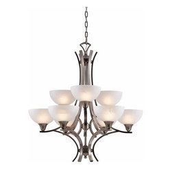 Triarch International - Triarch International 29774 Luxor 9 Light 2 Tier Chandelier - Features: