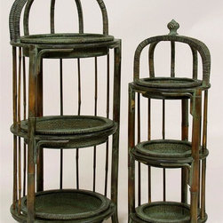 AA Importing - 3-Tier Plant Stands in Wood w Woven Rattan - The stunning combination of natural woven pole rattan and lustrous mahogany finish wood come together in this spectacular two-piece planters set.  Each of the two sizes feature three ample levels for your favorite  live or silk plants.  Impeccably adorned with an impressive crown design both stands feature a decorative finial for a regal touch.  The antique style finish gives this impressive set a luxuriously handsome style. Set of 2. 3-Tier. Wood with rattan pattern. Set includes small and large stand. Small: 10 in. Dia. x 30 in. H. Large: 15 in. Dia. x 37 in. H
