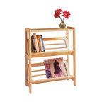 Winsome Wood - Winsome Wood Bookshelf w/ Slanted Shelf in Natural - With tilted shelves, this 2-Tier Bookshelf displays books and magazines so that the spines are easy to view. The solid top can also be used as a side table perfect for holding a lamp or vase of flowers. Shelf (1)
