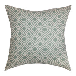 The Pillow Collection - Cacia Blue 18 x 18 Geometric Throw Pillow - - Pillows have hidden zippers for easy removal and cleaning  - Reversible pillow with same fabric on both sides  - Comes standard with a 5/95 feather blend pillow insert  - All four sides have a clean knife-edge finish  - Pillow insert is 19 x 19 to ensure a tight and generous fit  - Cover and insert made in the USA  - Spot clean and Dry cleaning recommended  - Fill Material: 5/95 down feather blend The Pillow Collection - P18-D-21005-SURF-C100