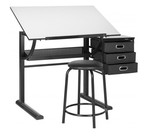Safavieh - Harvard Writing Desk - A marvel of modern engineering, the Harvard writing desk and stool work efficiently in residential or commercial workspaces. With adjustable top for art and drafting, three drawers and a cool contemporary vibe, this set delivers style in a small package.