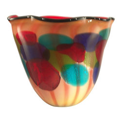 Dale Tiffany - Dale Tiffany AV11105 Celebration Modern / Contemporary Decorative Vase - Our Celebration vase brings a fiesta of color into any room of your home. The vase features a ruffled edge with a background of sunny yellow Favrile art glass with vertical orange stripes running around the diameter. Circles in festive shades of red, green, blue, orange and purple add an explosion of color. Favrile differs from other art glass in that the colors are embedded into the glass by hand so no two are exactly alike. Celebration makes an excellent housewarming or bridal give and will be life of the party wherever it is displayed for years to come.