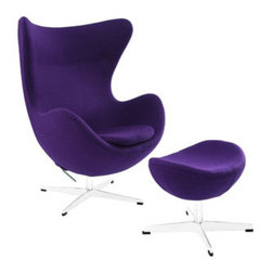 "LexMod - Glove Wool Lounge Chair and Ottoman Set in Purple - Glove Wool Lounge Chair and Ottoman Set in Purple - The Glove Chair provides evidence of movement in design to adapt more organic forms into our living spaces. Designed to remind us of the natural world, this chair provides sheer comfort and relaxation. Get back to nature with the Glove Chair. Set Includes: One - Glove Chair in Woolen Mix One - Glove Ottoman in Wool Upholstered in Wool, Aluminum Rotating Base, Re-enforced Fiberglass Frame Overall Chair Dimensions: 31.5""L x 35""W x 42.5""H Overall Ottoman Dimensions: 15.5""L x 22""W x 16""H Chair Armrest Height: 27""H Ottoman Height: 13.5 - 16""H Chair Seat Height: 16""H - Mid Century Modern Furniture."