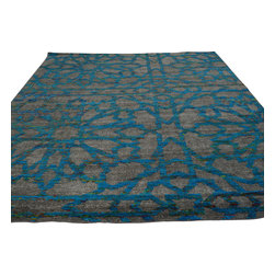 Blue Abstract Design Oriental Rug 9'x12' Hand Knotted Wool and Sari Silk Sh18624 - Our Modern & Contemporary hand knotted rug collection contains some of the latest designs in the industry. The range includes geometric, transitional, abstract, and modern designs; from the Tibetans to the Gabbeh. We offer an entire line of contemporary designs, whether you're searching for sophisticated and muted to the vibrant and bold.