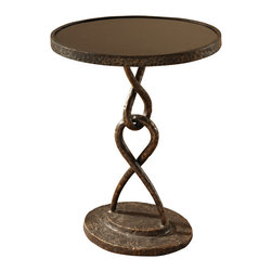 Global Views - Loop De Loop Table - Iron - Hand wrought iron with bronzed finish or gold leafed with an antique glaze on the base, completed with either a polished black granite top or a white honed and polished marble top.  Inspired by high fashion jewelry links and clasps.