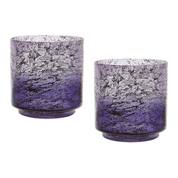 Lazy Susan - Plum Ombre Hurricane, Set Of 2 - This Set Of 2 Plum Ombre Flared Vases Are Each Mouth Blown By A Skilled Craftsman Using Traditional Tecniques. The Ombre Finish Is Hand Applied After The Glass Has Cooled And Then Delicate Silver Leaf Is Added To The Inside To Give Added Depth And Interest To The Finish, Light Is Refelected Off The Silver Leaf When Candles Are Lit.