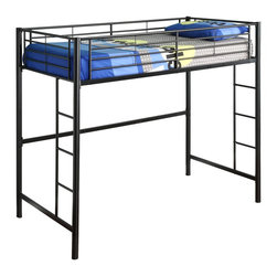 Walker Edison - Walker Edison Sunset Metal Twin/Loft Bunk Bed - Black X-LBLOTB - This simple, yet contemporary twin-over-loft bunk bed conveys chic style with clean lines and finish. A steel-crafted frame with powder coated finish promises stability and function. Designed with safety in mind, this bunk bed includes full length guardrails and two integrated ladders. This bed is ideal for space-saving needs and accommodates a variety of options below the loft.Features:&#8226: Stylish, contemporary design&#8226: Supports 250 lbs.&#8226: Attractive powder-coated finish&#8226: Accommodates a variety of options below loft&#8226: Conforms to the latest consumer product safety standards&#8226: Support slats included, no box spring needed&#8226: Ideal for space-saving needs&#8226: Maximum recommended upper mattress thickness of 9 in.&#8226: Does NOT include mattresses or bedding&#8226: Ships ready-to-assemble with necessary hardware and tools&#8226: Assembly instructions included with toll-free number and online support