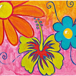 Spring Flowers Wall Mural - Bright yellow blue and orange flowers help create a carefree mood in this 4-piece wall mural.