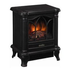 Duraflame - Duraflame Electric Stove w Heater - Operable door. Glowing logs and ember bed. No hookups required, vent-free. Operates with and without heat. 2 switches and thermostatic dial:. Main Power / Flame. On/Off Heat. 1350 Watts/4600 BTUs per hour. Supplemental heat for up to 400 sq. ft.. Realistic flame effect. Upgraded glowing logs and ember bed. Black finish. 16.25 in. W x 11.61 in. D x 19.68 in. H