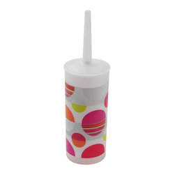 Printed Pp Toilet Bowl Brush Eclats Multicolor - This printed toilet brush Eclats for bathrooms is in polypropylene. It is opaque with colored round patterns. Diameter 3.94-Inch and height 13.78-Inch. Wipe clean with a damp cloth. Color multicolor. Ideal to clean your toilet and keep hygiene and cleanliness! Esthetic, the brush easily stows away in an elegant container. Add a classic style element to your bathroom with this functional and trendy toilet brush that coordinates easily with your decor. Complete your Eclats decoration with other products of the same collection. Imported.