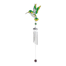 GSC - 29 Inch Green Hummingbird with Gems Silver Wind Chime - This gorgeous 29 Inch Green Hummingbird with Gems Silver Wind Chime has the finest details and highest quality you will find anywhere! 29 Inch Green Hummingbird with Gems Silver Wind Chime is truly remarkable.