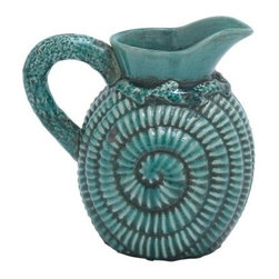 Vintage Ceramic Pitcher - Whether it's dressing up dinner time or jazzing up a kitchen shelf, the Ceramic Pitcher in Vintage Design with Modern Detailing makes a delightful design statement. Made of high-quality ceramic, it features a savvy spiral pattern, not to mention a high-gloss blue finish. Plus, it's safe for liquids.