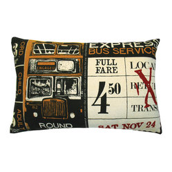 KOKO - Ticket Pillow, Bus - What is it about travel that evokes romance and mystery? The stamped ticket alone seems to represent a world of possibility even if you are simply sitting on the couch. For that reason alone, you're sure to be captivated by this bold vintage printed pillow.