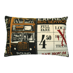 "KOKO - Ticket Pillow, Express, Cream, 13"" x 20"" - What is it about travel that evokes romance and mystery? The stamped ticket alone seems to represent a world of possibility even if you are simply sitting on the couch. For that reason alone, you're sure to be captivated by this bold vintage printed pillow."