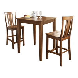 Crosley Furniture - Crosley Furniture 3-Piece Pub Dining Set with Tapered Leg and Shield Back Stools - Crosley Furniture - Pub Sets - KD320006CH - Constructed of solid hardwood and wood veneers the 3 piece Pub / High Dining set is built to last. Whether you are looking for dining for two or just a great addition to the basement or bar area this set is sure to add a touch of style to any area of your home.