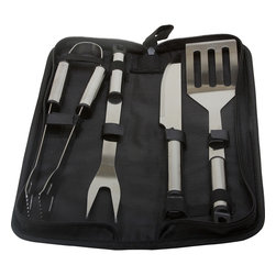 KitchenWorthy - KitchenWorthy Stainless Steel 5-piece BBQ Tool Set - Keep your BBQ accessories all in one place with this polished stainless-steel grill tool set. Complete with tongs, a chef's fork, a slicing-and-carving knife, and a slotted spatula, this set comes in a black zippered bag for easy carrying.
