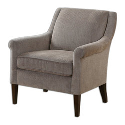 Uttermost - Nelle Herringbone Armchair - Just as comfortable as the typical club chair, and just as handsome, this sleek cousin is a lot more welcoming. You'll appreciate its well-padded, comfortable back and cushion that are upholstered in a soft, creamy beige herringbone fabric. Crawl on in and spend some quality time.