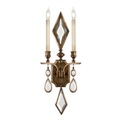Fine Art Lamps - Encased Clear Crystal Gems Sconce, 718150-3ST - Sconce in venerable bronze patina with clear crystal gems. 60 watt B-10 bulb, candelabra base light bulb. UL Listed, phenolic socket. Bulb(s) not included. We recommend that all Fine Art Lamps are hung by a professional electrician. All fixtures come with specific hanging instructions and descriptions. Contact Houzz for specific questions regarding installation instructions