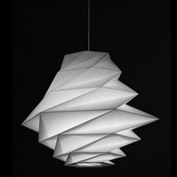 """Artemide - Artemide Fukurou Pendant Light - Issey Miyake's unique folding technology creates both statue forms as well as solidity. This structure is made of recycled material,  with an additional surface treatment allows these shades to perfectly keep their...     The Fukurou Pendant Light is composed of a recycled fabric shade and an internal structure composed of a diffuser tube and LED chip. The LED light source is masde of optics that project along the diffusing PMMA tube. A white powder painted die-cast aluminum cylinder acts as heat sync for the LED chip. This light features a canopy in white opal polycarbonate with laser etched Artemide and IN-EI logo0s. Dimmable with electronic low voltage dimmer (sold separately). Ships with 3 feet of cable.     Manufacturer: Artemide   Designer:  Issey Miyake's   Made in: Italy    Dimensions:    Diameter: 24.19"""" ( 61.4 cm ) X Height: 22.44"""" ( 57 cm ); 58.44"""" ( 148.4 cm) max height     Lamping:   1 X 17W (medium base) dimmable LED module (not included)     Material:  Fabric, Cloth, Polycarbonate, Polymer"""