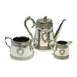 Lavish Shoestring - Consigned Silver Plated Tea Set by Henry Harrison, Antique English, circa 1880 - This is a vintage one-of-a-kind item.