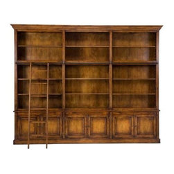 """BSEID - Library Cabinet by BSEID - Span the wall in your office or library with this magnificent Royal Library Cabinet. Constructed of solid oak, in a rich stained finish, it provides plenty of room for displaying and storing. The oak ladder can slide the entire width. A light kit is included. Topped with crown molding for an elegant finished appearance, this unit will add a richness to your space. (SAR) 125"""" wide x 17"""" deep x 98"""" high"""
