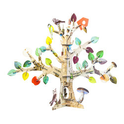 OOTS! - Totem: Tree Cardboard Toy - This family tree can be created, pruned or accessorized by everyone in the family. Begin by simply adding multicolored leaves where you want them. Then you can branch out to include mushrooms, birds, fruit and a birdhouse.