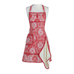 Jessie Steele - Jessie Steele Red Paisley Damask Gigi Apron with Towel - Sophisticated and traditional, this Paisley Damask combines a classic with modern feminine style. This print accents any kitchen decor from ranch reserve to hilltop manor. This Gigi Apron has a removable terry towel to help you tackle any mess and features a cloth covered two button detail at the top and coordinating border bottom, roomy side pocket, adjustable neck strap, and tie at the waist.