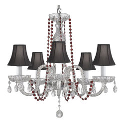 The Gallery - Crystal Chandelier with Red Crystals and Shades - Go all out for glamor in your favorite formal setting. This stunning crystal chandelier pulls out all the stops, then tops itself with ruby colored strands and dramatic black shades.
