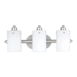 Quoizel - Quoizel Empire Silver Bathroom Fixtures - SKU: AN8540ES - Cylindrical shades of opal etched glass distinguish this bath fixture as a striking piece of contemporary chic. The silver finished arms and wall mount contrast with the frosted appearance of the shades, accentuating the smooth lines and round contours that make this piece lovely to behold.