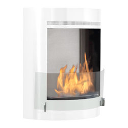 Eco-Feu - Malibu Wall Mounted Bio Ethanol Fireplace, Gloss White with Stainless Interior - The Malibu Ethanol Fireplace offers a sleek and stylish way to add real flame to your decor. Available in stainless steel or gloss white with a stainless interior, this compact wall mount fireplace will work with any contemporary space. Malibu displays an eco-friendly flame that is odorless. Bio Ethanol, an alternative fuel source produced from plants, only emits water vapor and carbon dioxide into the air, therefore no chimney or flue is needed. Although ethanol fireplaces aren't intended for use as a primary heat source, the Malibu model by Eco-Feu produces approximately 6,500 btu with the help of its stainless burner, which will change the noticeable temperature in a room of approximately 400-500 square feet. For aesthetic appeal and safety, this fireplace includes a pane of tempered glass that is situated in front of the flame. Appropriate for any living space, Malibu can be mounted on the wall using the included hardware.
