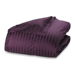 Wamsutta - Wamsutta 500 Damask Duvet Cover Set in Purple - This incredibly luxurious purple duvet cover set has a classic damask stripe that reverses to a pinstripe. It will add an elegant look and feel to your bedroom.