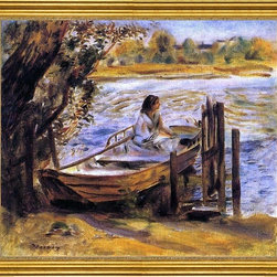 "Pierre Auguste Renoir-16""x20"" Framed Canvas - 16"" x 20"" Pierre Auguste Renoir Young Woman in a Boat (also known as Lise Trehot) framed premium canvas print reproduced to meet museum quality standards. Our museum quality canvas prints are produced using high-precision print technology for a more accurate reproduction printed on high quality canvas with fade-resistant, archival inks. Our progressive business model allows us to offer works of art to you at the best wholesale pricing, significantly less than art gallery prices, affordable to all. This artwork is hand stretched onto wooden stretcher bars, then mounted into our 3"" wide gold finish frame with black panel by one of our expert framers. Our framed canvas print comes with hardware, ready to hang on your wall.  We present a comprehensive collection of exceptional canvas art reproductions by Pierre Auguste Renoir."