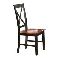 Steve Silver Furniture - Steve Silver Kingston Side Chair in Oak & Black [Set of 2] - Side Chair in Oak & Black belongs to Kingston Collection by Steve Silver Casual comfort is what the Kingston side chairs are all about. The hardwood side chairs feature an ?��X?�� open design with bentwood back for an added touch.   Side Chair (2)