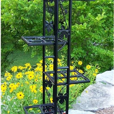 Oakland Living - Six Level Plant Stand in Black - Made of Durable Wrought Iron Construction. Easy to follow assembly instructions and product care information. Stainless steel or brass assembly hardware. Fade, chip and crack resistant. 1 year limited. Hardened powder coat finish in Black for years of beauty. Black finish. Some assembly required. 22 in. W x 14 in. L x 66 in. H (26 lbs.)Our plant stands are the perfect edition to any setting. Adds beauty and style both indoors and out while having functionality.