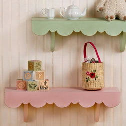 New Arrivals - New Arrivals Pink Cottage Wall Shelf - WSH-030 - Shop for Wall Hooks Shelves and Racks from Hayneedle.com! Display all your child s favorite things on the New Arrivals Pink Cottage Wall Shelf. Its solid wood construction features a charming cottage feel and is finished in a lovely pink. Scalloped edge detailing adds a whimsical touch when displayed with favorite books toys or special collectibles. A wonderful addition to your little girl s nursery or playroom.About New Arrivals Inc.New Arrivals Inc. was started 15 years ago by mom-of-three Tori Swaim. What started as a small accessory and gift product line has grown into hundreds of products including bedding nursery and kid s room decor letters and baby gifts. New Arrivals Inc. is your one-stop-shop for designing the baby nursery or kids room of your dreams.