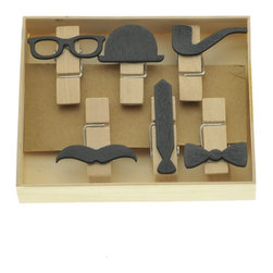 Gentleman Memo Clips - The Gentleman Memo Clips bring a playful personality. For oneself or as a perfect gift for a dapper gentleman or father, they are made from beautiful natural wood. The Gentleman Memo Clips are a great stylish choice for organizing and affixing papers around the home or office. They come in a set of 6: spectacles, a bowler hat, a pipe, a mustache, a tie, and a bow tie. Each measures 1.75 x 1.25 inches.