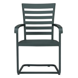 """Orleans Spring Chair - Elegant French Provencal curves nod to streamlined midcentury modern in this gracious and timeless outdoor collection. Comfortable seating takes shape in durable yet lightweight aluminum tubing, powdercoated in a classic shade of evergreen. Motion """"spring"""" dining chair has a perfectly pitched back and spring base that gently rocks. Slatted design features a softly rounded frame, complete with retro-inspired """"covered"""" armrests. Orleans dining collection also available."""