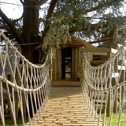 Rope Bridges for treehouses by Treehouse Life - What better way to enter into your treehouse adventure land, cross a river or canyon than by crossing an 'Indiana Jones' canyon Rope Bridge; swaying from side to side as you run through the trees, high up off the ground