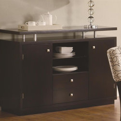 Coaster - Libby Buffet Server - Contemporary style. Straight clean lines accentuated by subtle curves. Two storage cabinets. Floating top. Two lower drawers. Two shelves. Silver hardware square knobs. Made from poplar solids and birch veneers. Deep cappuccino finish. 48 in. W x 39.5 in. D x 30 in. H. WarrantyAdd extra storage space to your dining area with the trendy Libby buffet.