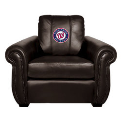 Dreamseat Inc. - Washington Nationals MLB Chesapeake Black Leather Arm Chair - Check out this Awesome Arm Chair. It's the ultimate in traditional styled home leather furniture, and it's one of the coolest things we've ever seen. This is unbelievably comfortable - once you're in it, you won't want to get up. Features a zip-in-zip-out logo panel embroidered with 70,000 stitches. Converts from a solid color to custom-logo furniture in seconds - perfect for a shared or multi-purpose room. Root for several teams? Simply swap the panels out when the seasons change. This is a true statement piece that is perfect for your Man Cave, Game Room, basement or garage.